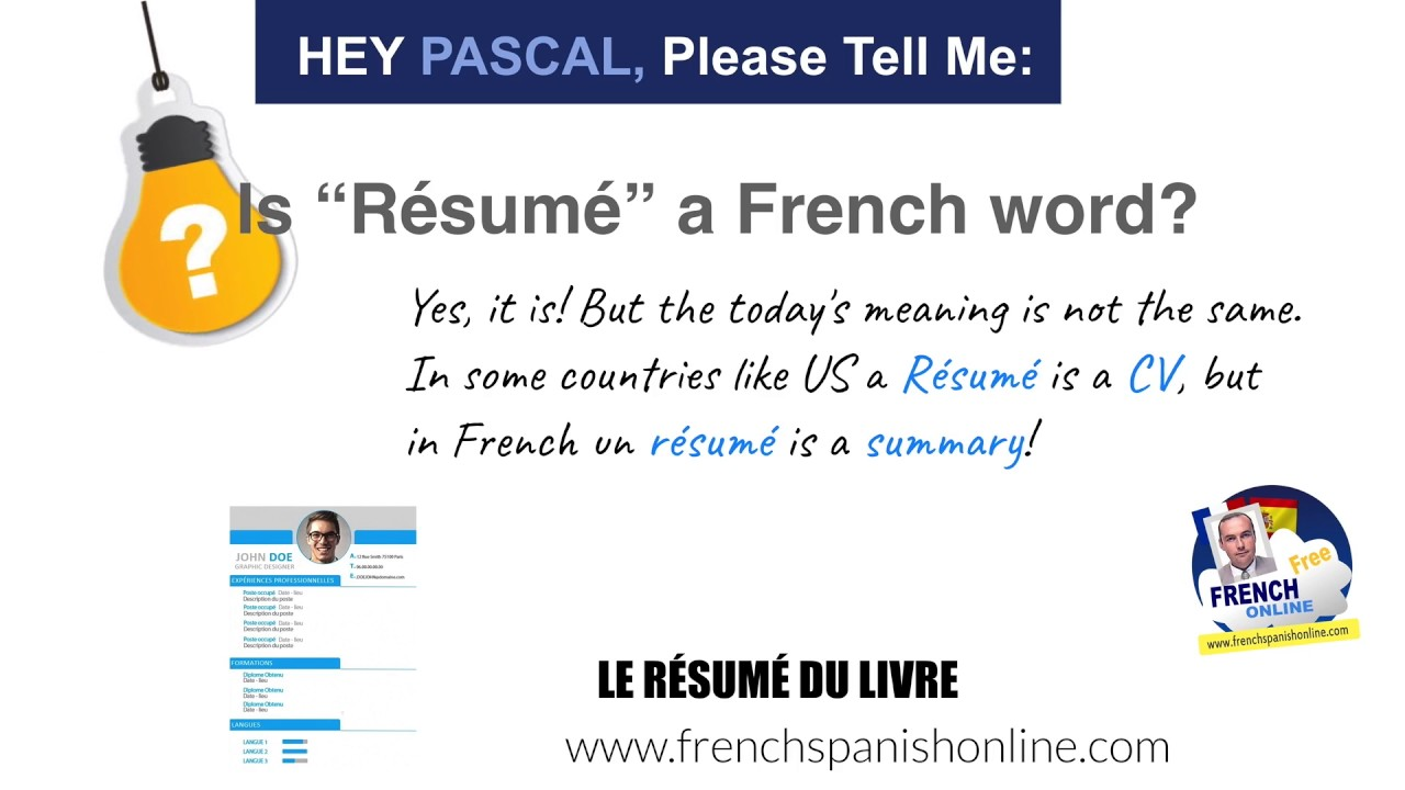 Hey Pascal, is resume a French word? - YouTube
