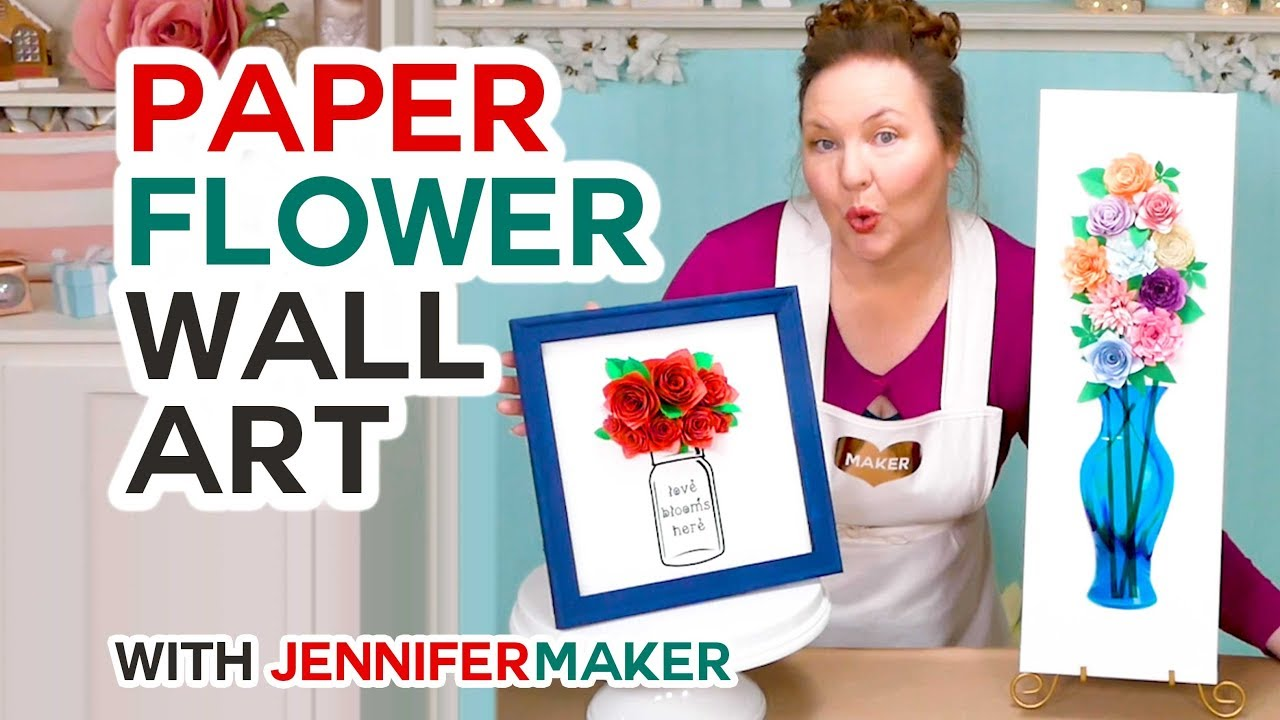 Diy Paper Flower Wall Art Decor Mason Jars Vases Youtube