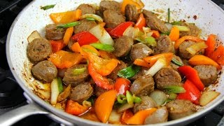 Breakfast Sausages With Bell Peppers - Tasty Tuesdays  CaribbeanPot.com