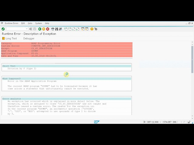 SAP + Micro Focus (formerly HP) Service Manager integration - Runtime error example