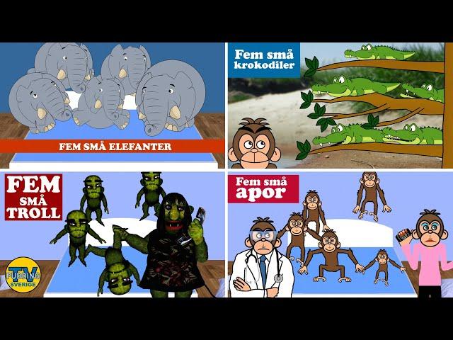 Fem små elefanter - med mera | Svenska barnsånger