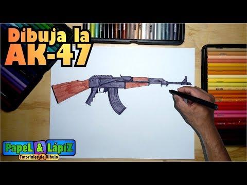 Como Dibujar El Arma Rusa Ak 47 Paso A Paso Youtube