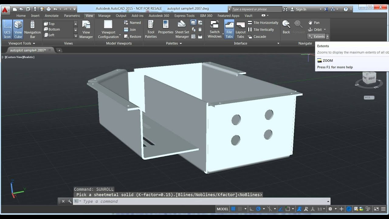Precise 2 Unfold Sheet Metal Model In Autocad Sample 2