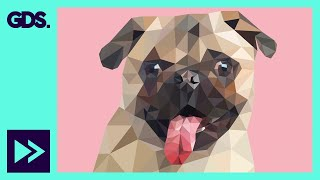 Polygonal Pug | low poly speed art in Adobe Illustrator
