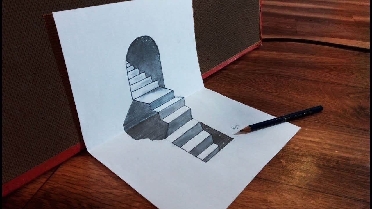 hole draw stairs 3d paper illusion optical sketch kaif