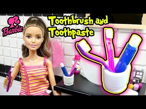 DIY Miniature Doll Toothbrush And Toothpaste - Barbie Doll Crafts - Making Kids Toys
