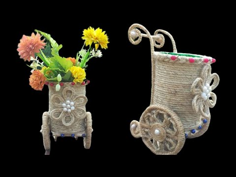 Jute Flower Vase Make With Plastic Bottle    Flower Vase Home Decoration Ideas With Jute Rope