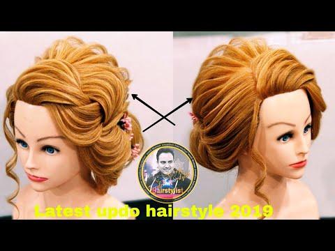 Latest international updo hairstyle 2019/ latest western  messy bun hairstyle / messy bun hairstyle thumbnail