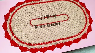 #Tapete Crochet Oval Red Sunse…