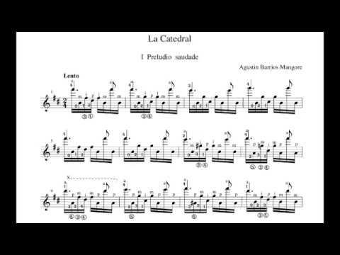Agustín Barrios - La Catedral for Guitar (Score video)
