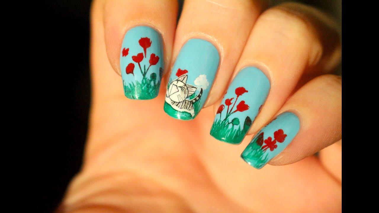 Du nail art des fleurs et des chatons youtube - Nail art printemps ...