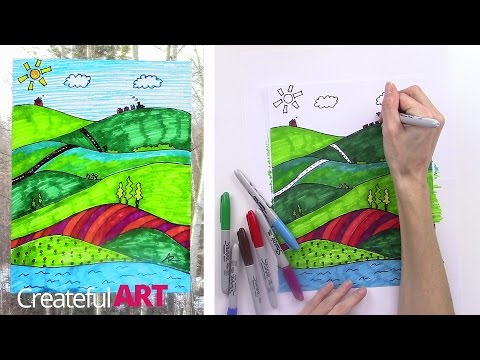 How To Draw a Landscape–Art Lesson For Kids
