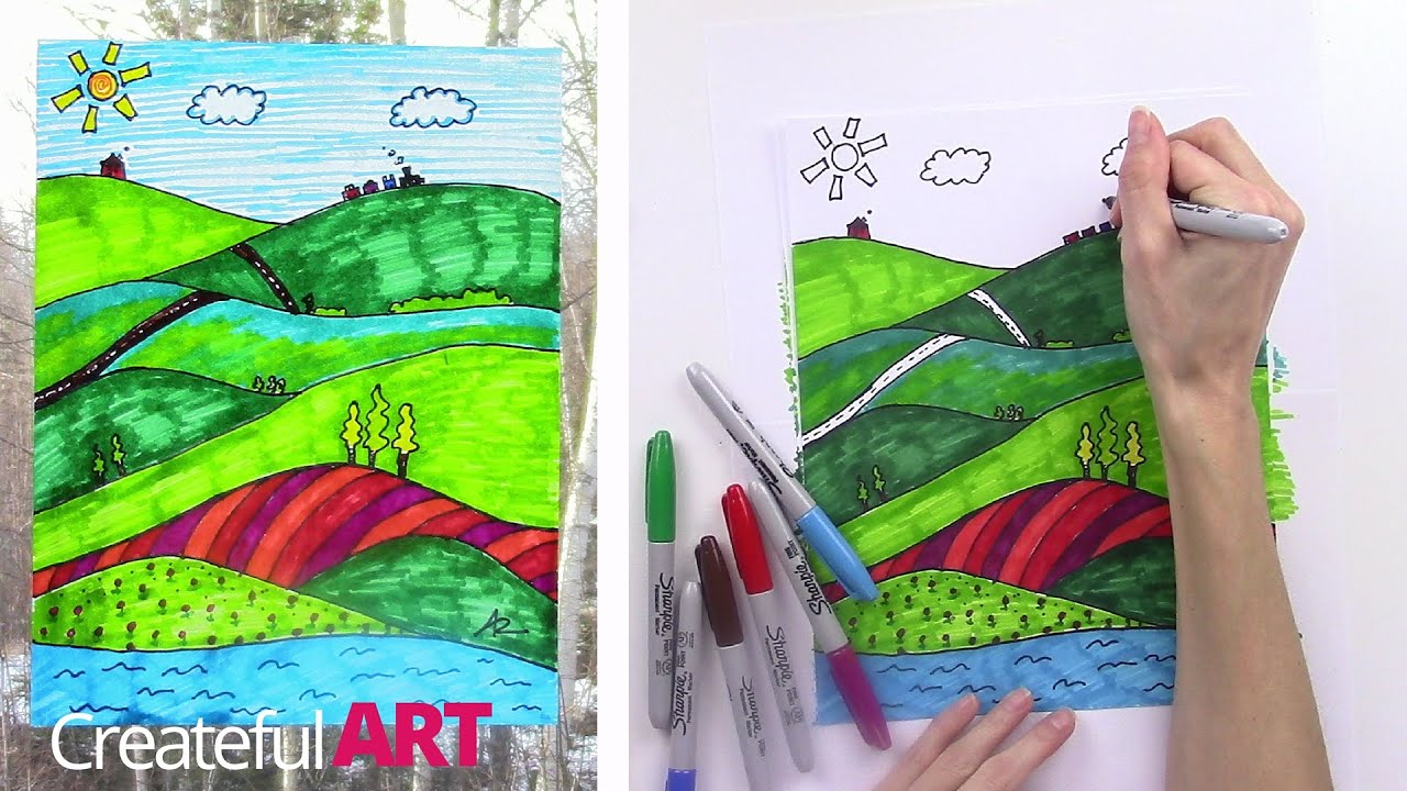 How To Draw A Landscape Art Lesson For Kids Youtube