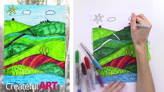 How To Draw a Landscape--Art Lesson For Kids
