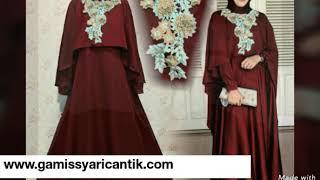 Model Baju Gamis Pesta Pernikahan Terbaru Warna Merah Maron