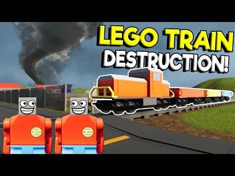 Lego City Train CRASHES into Lego Tornado & Nuke! - Brick Rigs Multiplayer Gameplay - Lego Train