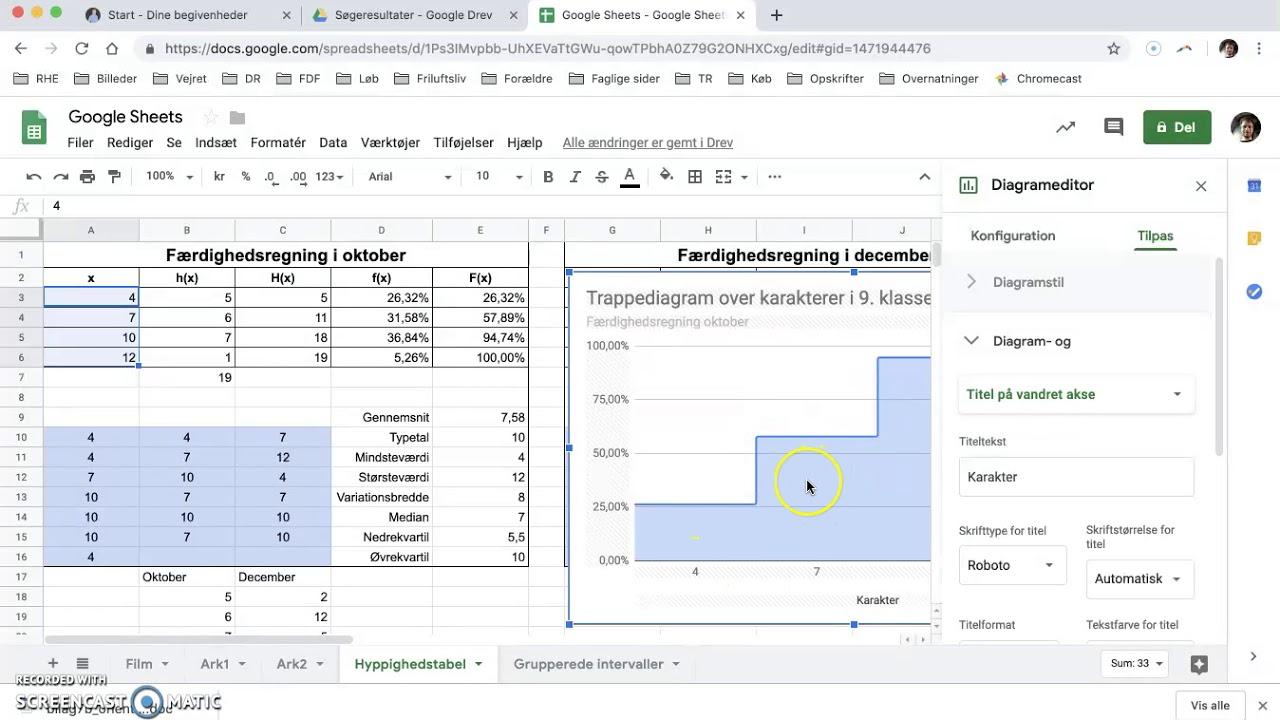 Google Sheets - Sumkurve og trappediagram