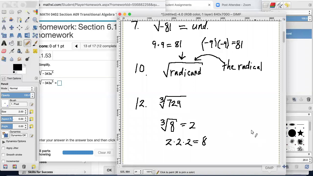 Transitional Algebra 6.1 and 6.2 Homework and Key Concepts