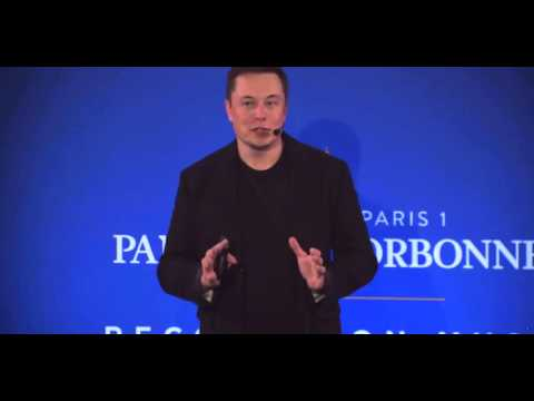 Elon Musk gives a talk at the Sorbonne, Paris - COP 21