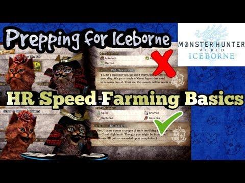 MHW Iceborne Prep HR farming |
