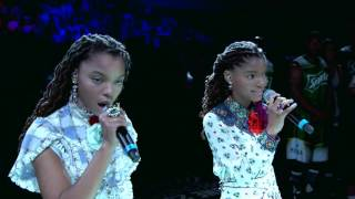 Repeat youtube video Chloe x Halle Sing National Anthem at BET Experience