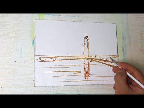 Sunset LightHouse Painting   Acrylic Painting for Beginners   Daily Art challenge #57