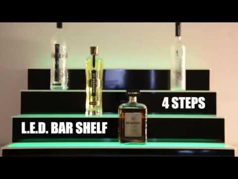 Four Step Lighted L E D  Bar Shelf for Liquor Shelf - YouTube