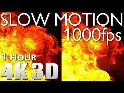 VR 3D - Slow Motion 1000fps #1 Explosions & Fire - 1 HOUR RELAXATION 4K