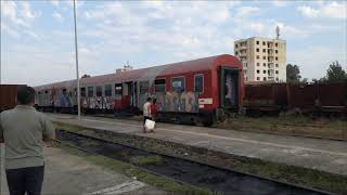 Mototrain arriving and leaving Shkozet station in Durres Albania