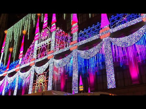 Christmas Time in New York with Saks Fifth Avenue Lights & Snow White Window Display