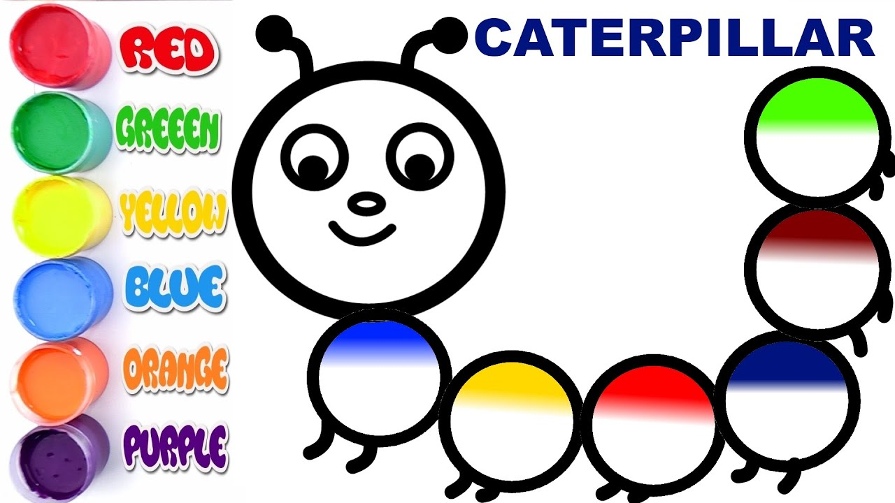 caterpillar coloring page learn colors forkids youtube