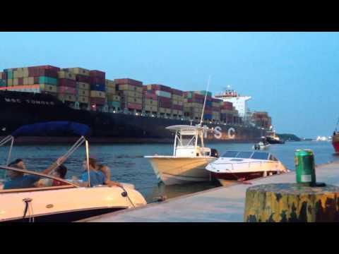Cargo ship in savannah