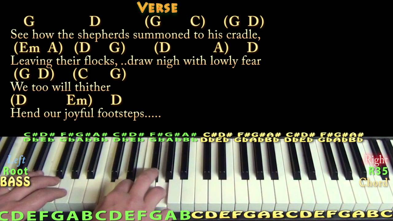 o come all ye faithful christmas piano cover lesson in g with chords lyrics youtube. Black Bedroom Furniture Sets. Home Design Ideas