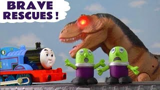 Funny Funlings and Thomas and Friends toy trains brave rescues with Dinosaurs TT4U