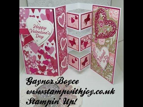 Fancy Tri Fold Valentine\u0027s Card Stampin\u0027 Up! - YouTube