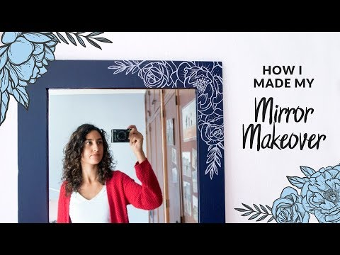 DIY Painted Flowers Mirror Makeover