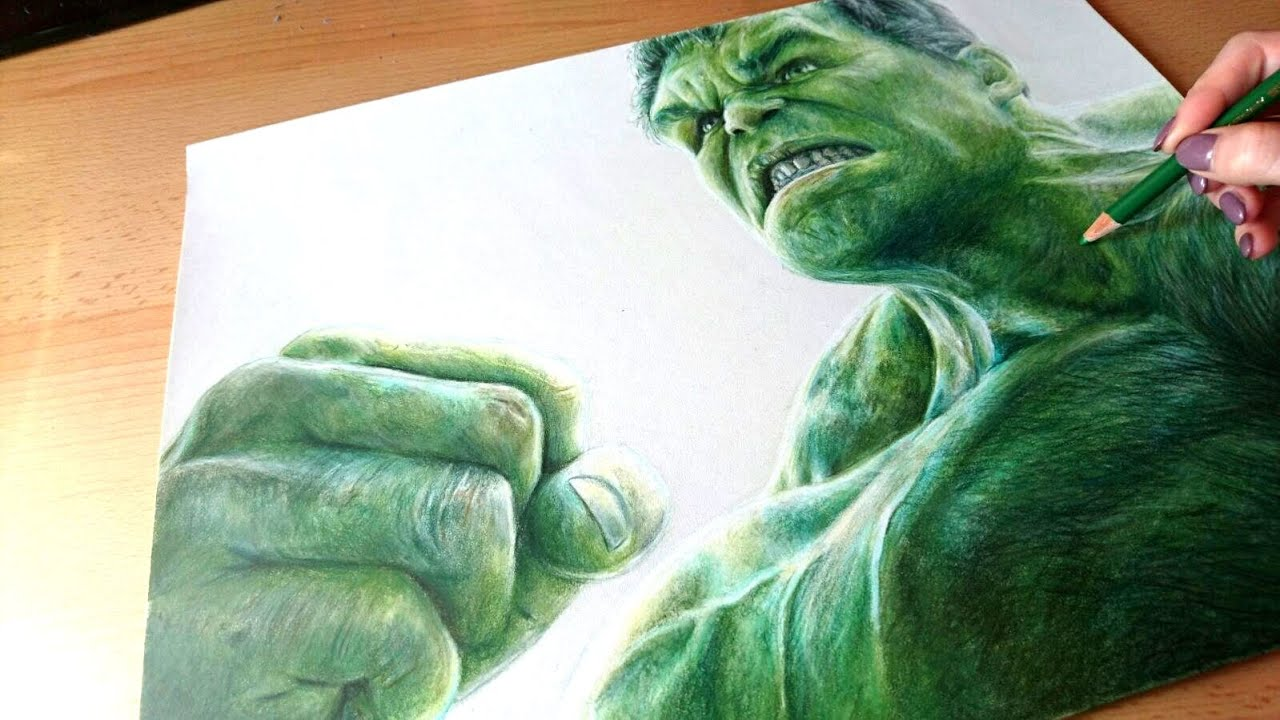colored pencil drawing incredible hulk speed draw