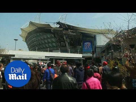 Devastating fire rips through Shanghai Shenhua stadium - Daily Mail