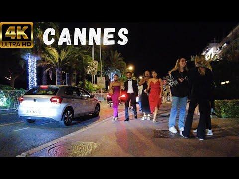 4K Cannes Walking Tour by Night  💛 International Film Festival 2021 - Part 1