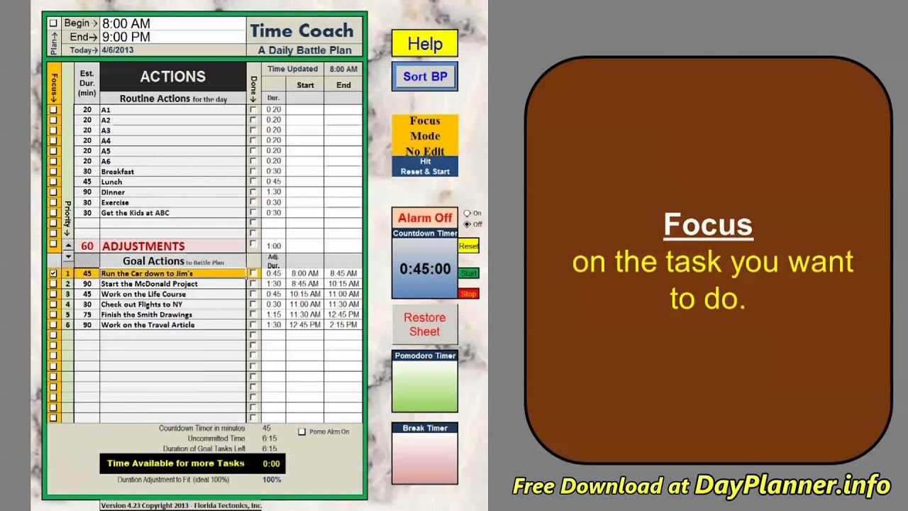 daily planner in excel