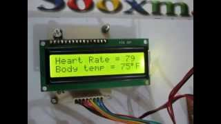 heart beat and body temperature display on lcd