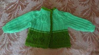 Детский жакет с листиками (спицы) Часть 1 - knitting children's jacket