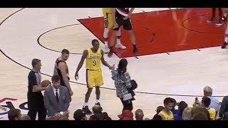 Rajon Rondo Trash Talks Drunk Fan Who Walks on the Court vs. Blazers