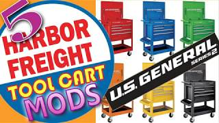5+ Harbor Freight T๐ol Cart Mods for the 5 drawer US General Mechanic's Tool Cart