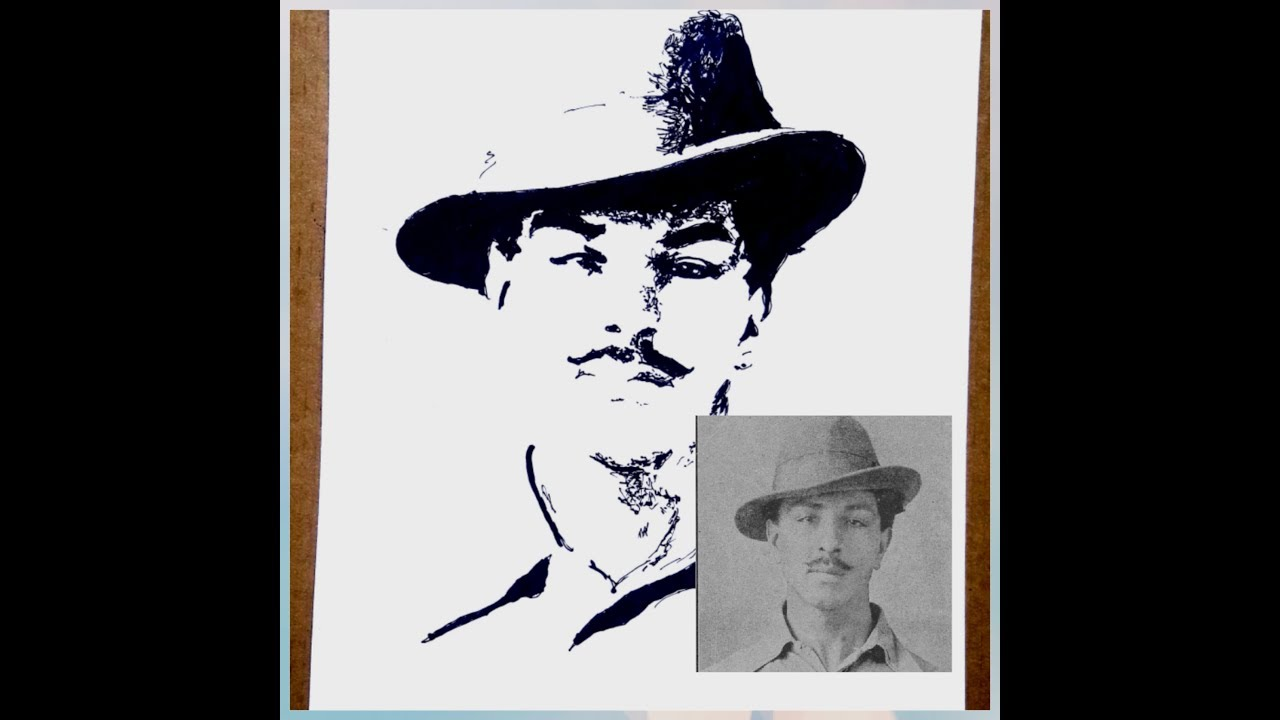 Best sketch of bhagat singh by ashish my drawings best video for drawing lovers