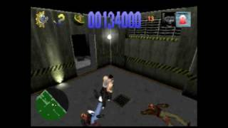 Die Hard Trilogy Gameplay (PS1) - Die Hard 1 - Level 1 - Garage
