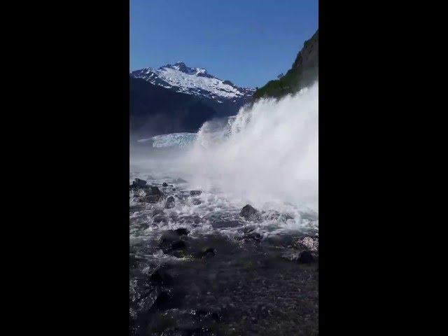 Mendenhall Lake and waterfall - Juneau Alaska