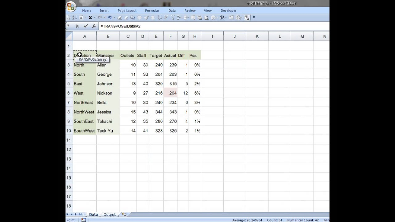 How to use Transpose Function In Excel - YouTube