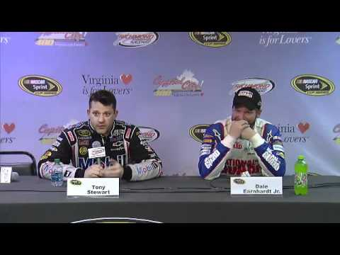 Dale Earnhardt Jr tries not to laugh as Tony Stewart insults reporter