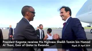 President Kagame receives His Highness Sheikh Tamim bin Hamad Al Thani, Emir of Qatar to Rwanda